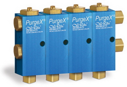 PurgeX Valves dispense measured, multiple shots of grease simultaneously in one area, in an Automotive Parts Supplier Facility